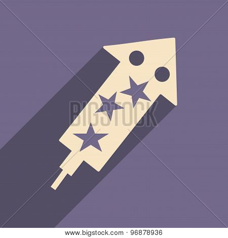 Flat with shadow icon and mobile applacation fireworks rocket