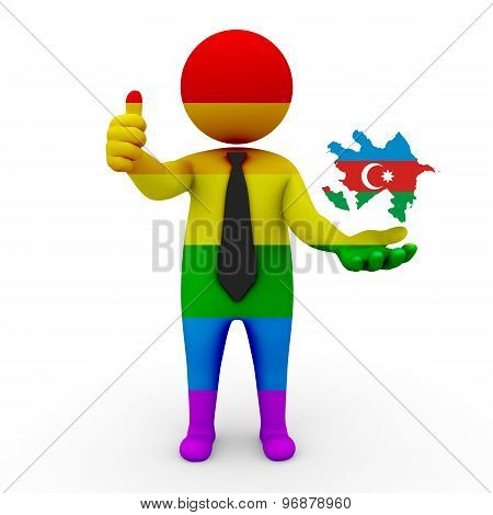 3d businessman people LGBT - with a map of the flag of Azerbaijan