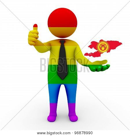 3d businessman people LGBT - with a map of the flag of Kyrgyzstan