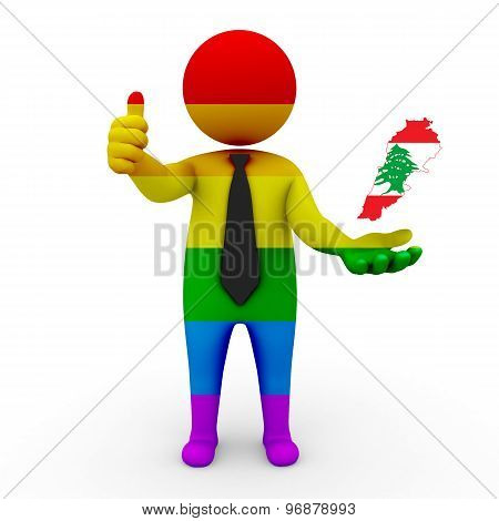 3d businessman people LGBT - with a map of the flag of Lebanon