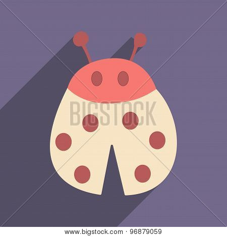 Flat with shadow icon and mobile applacation ladybug