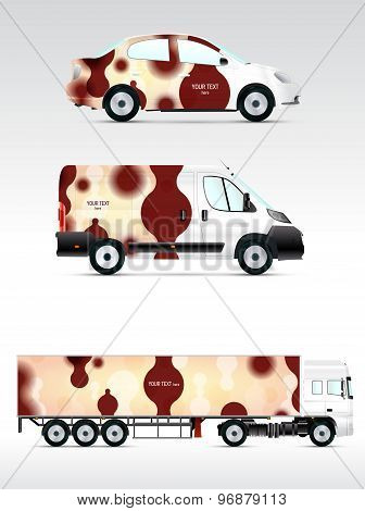 Template vehicle for advertising, branding or corporate identity. Passenger car, truck, bus.