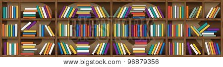 background of library book shelf