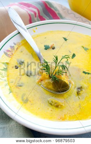 corn soup with brussels sprouts and other vegetables