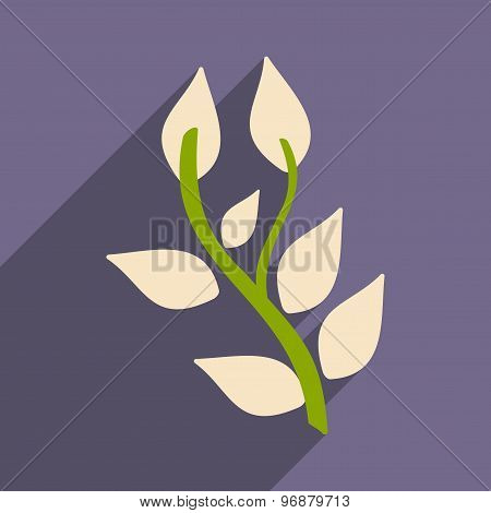 Flat with shadow icon and mobile application basil plant