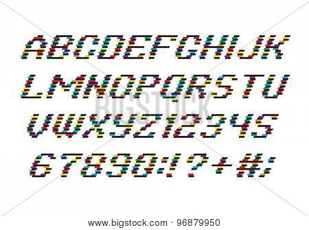 Color Alphabet font and numbers from Stripes