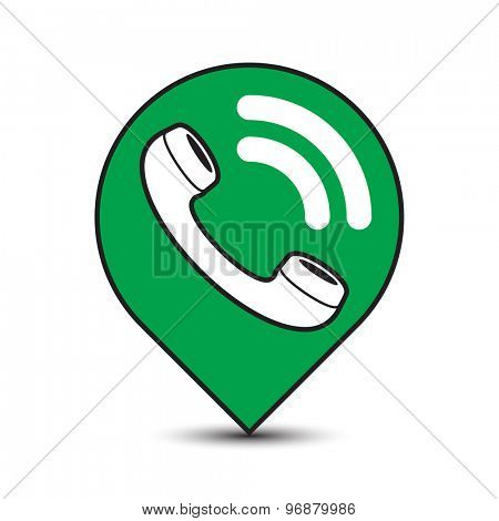 Classic wire phone handset in pin icon