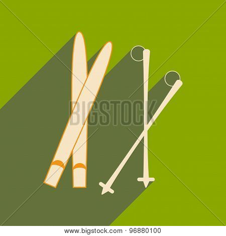 Flat with shadow icon and mobile applacation skis