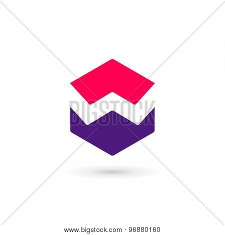 Letter W Cube Logo Icon Design Template Elements