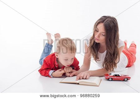 Beautiful young woman is spending time with her kid