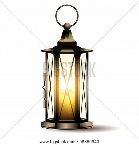 Vintage lantern with candle.