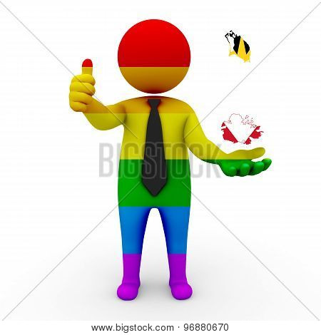 3d businessman people LGBT - with a map of the flag of Antigua and Barbuda