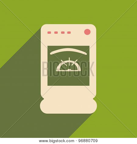 Flat with shadow icon and mobile applacation cooker