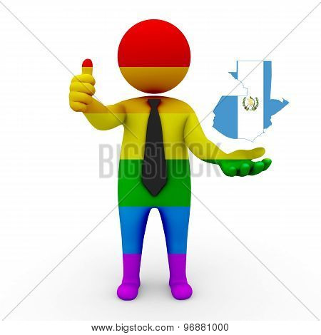 3d businessman people LGBT - with a map of the flag of Guatemala