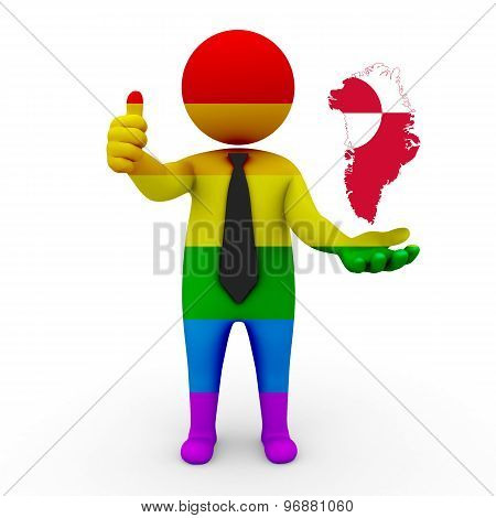 3d businessman people LGBT - with a map of the flag of Greenland