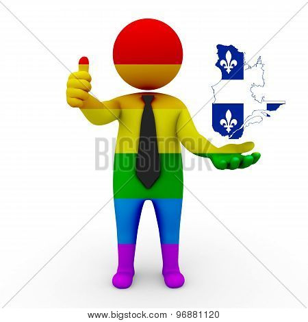 3d businessman people LGBT - with a map of the flag of Quebec
