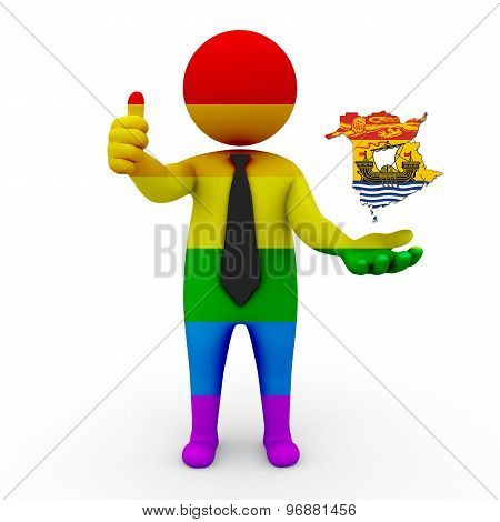 3d businessman people LGBT - with a map of the flag of New Brunswick