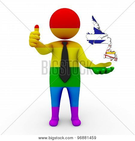 3d businessman people LGBT - with a map of the flag of Newfoundland and Labrador