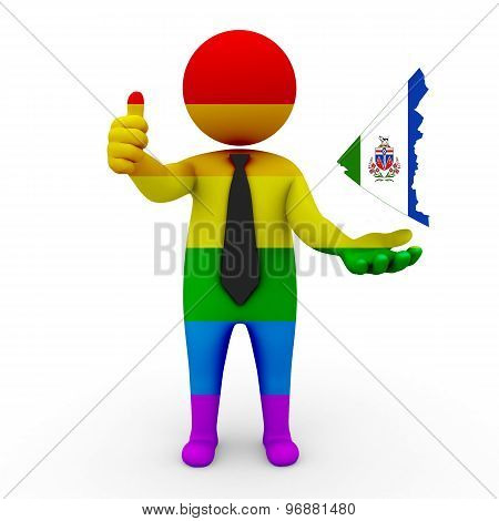 3d businessman people LGBT - with a map of the flag of Yukon (Territory)