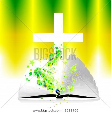 Open Bible And Christ,vector Illustration