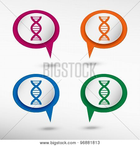 DNA icon on colorful chat speech bubbles