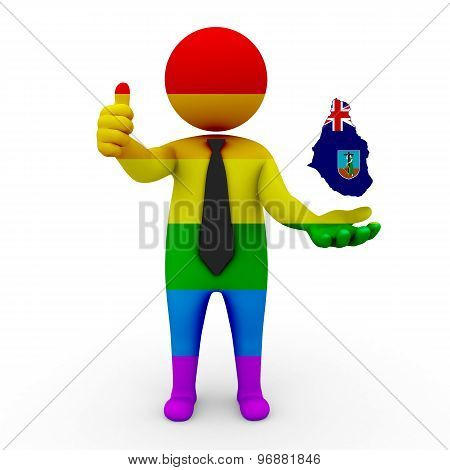 3d businessman people LGBT - with a map of the flag of Montserrat