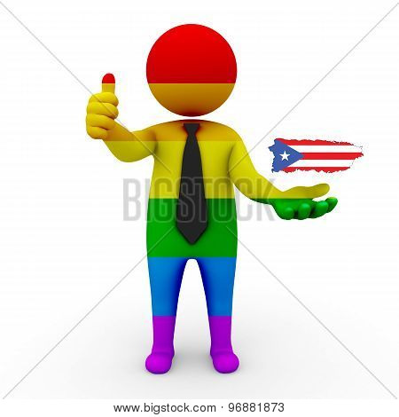 3d businessman people LGBT - with a map of the flag of Puerto-Rico