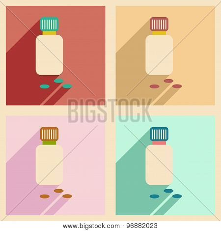 Flat with shadow concept and mobile application bottle of pills
