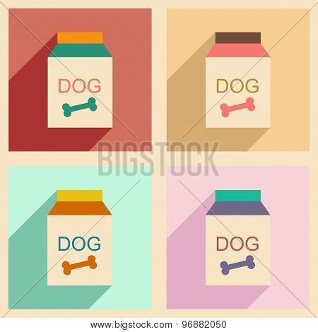 Flat with shadow concept and mobile application dog food