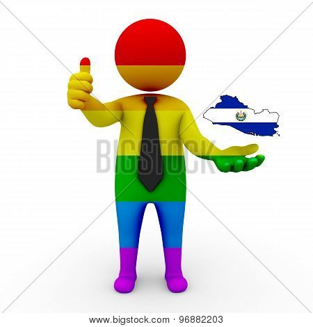3d businessman people LGBT - with a map of the flag of Salvador