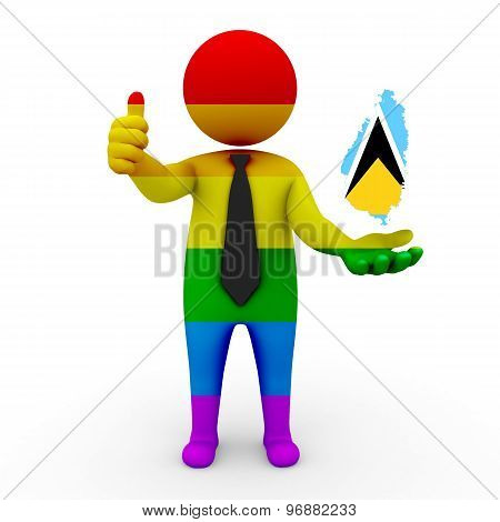 3d businessman people LGBT - with a map of the flag of Saint Lucia