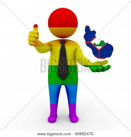3d businessman people LGBT - with a map of the flag of St. Eustatius