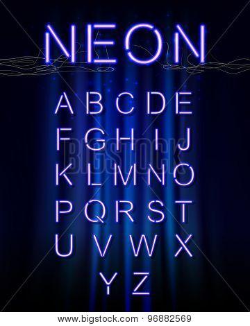 Neon glow alphabet.