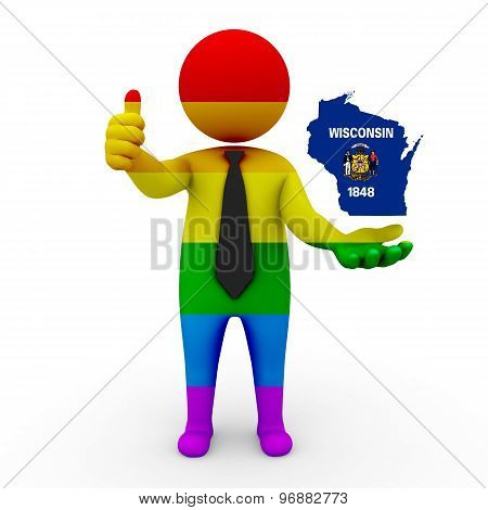 3d businessman people LGBT - with a map of the flag of Wisconsin