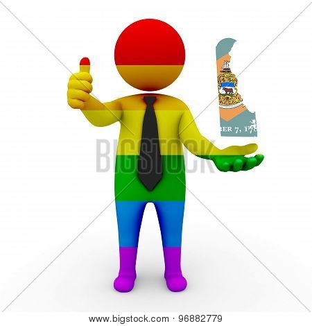 3d businessman people LGBT - with a map of the flag of Delaware