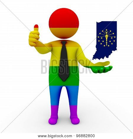 3d businessman people LGBT - with a map of the flag of Indiana