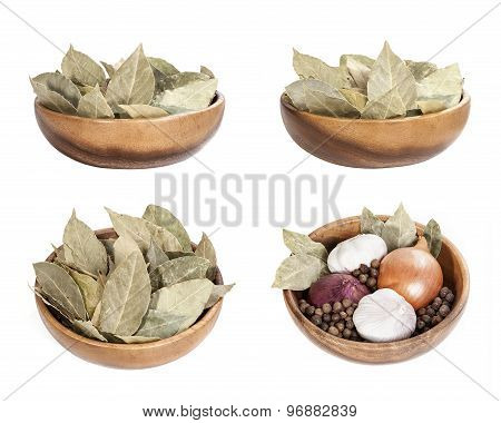 bay leaf, bay leaves in a bowl set, spices in a bowl with bay leaf
