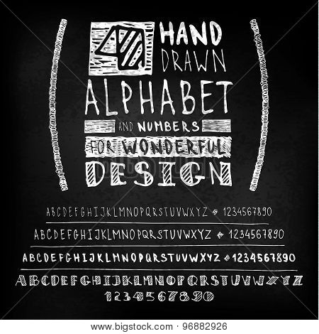 Hand drawn four fonts on blackboard