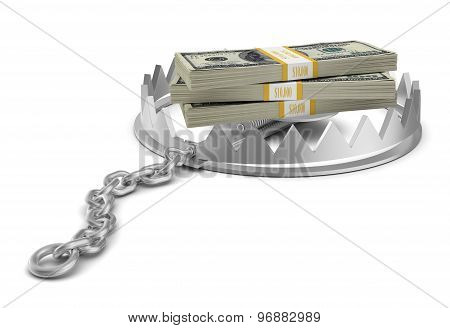 Stack of money in bear trap on white