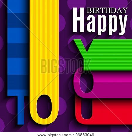 Birthday card with wishes text in the style of flat folded paper.