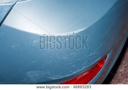 Broken blue car, close-up view