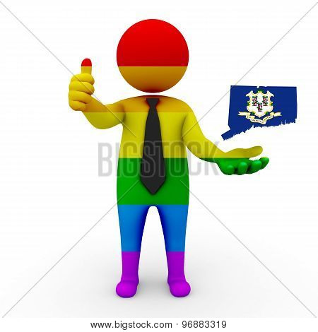3d businessman people LGBT - with a map of the flag of Connecticut