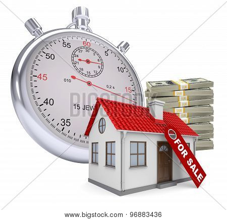 Timer with house for sale and stack of money