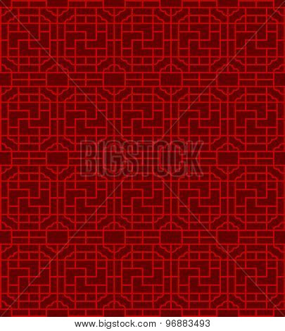 Seamless Chinese window tracery square spiral geometry pattern background.