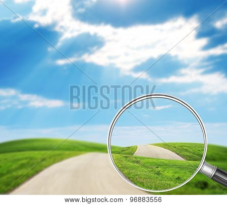 Road under loupe
