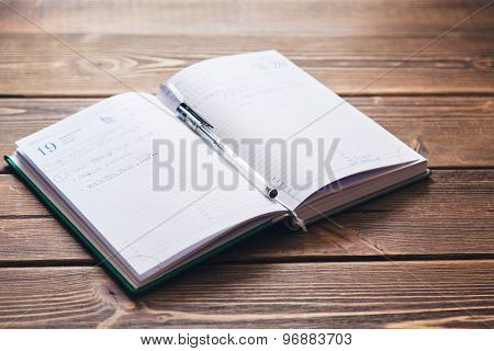 Diary on the desk