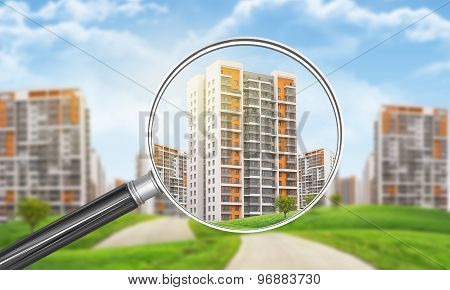 Buildings under magnifier
