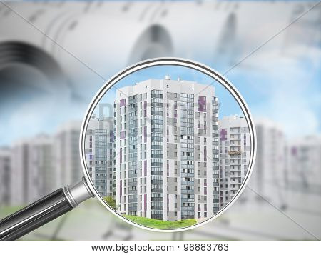 Buildings under magnifier with drafts