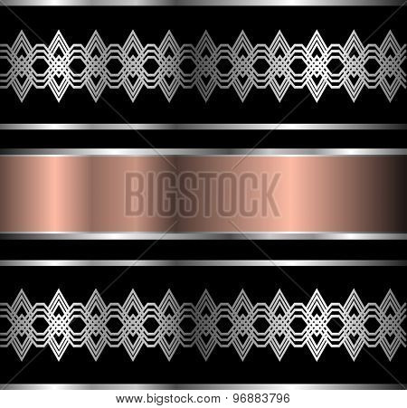 Abstract metallic background with banner and silver ornaments, vector illustration.