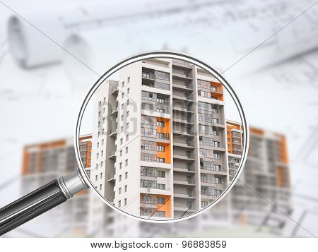 Colorful buildings under magnifier with drafts